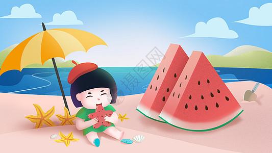 夏至西瓜可爱小孩吃西瓜插画高清图片
