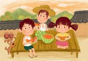 夏至 吃西瓜图片