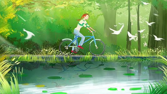 湖边骑自行车的女孩图片