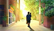 父亲节-夕阳散步回家图片
