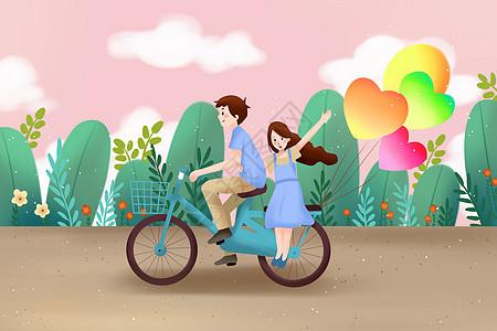 情侣骑自行车图片