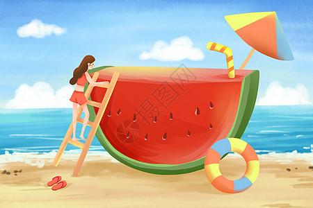 夏季吃西瓜图片