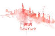 地标城市纽约水彩手绘插画图片
