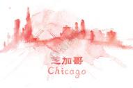 地标城市芝加哥水彩手绘插画图片