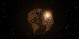 大数据金色地球背景图片
