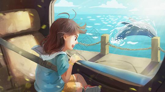 假日坐车旅行去看海的小女孩图片