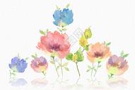小清新 花卉 水彩花朵背景图片
