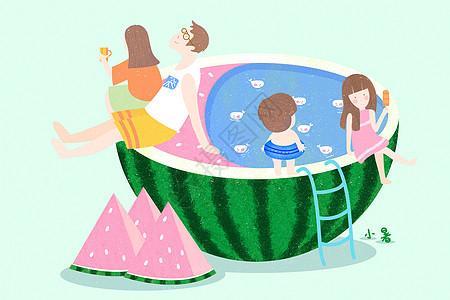 夏日西瓜游泳池图片