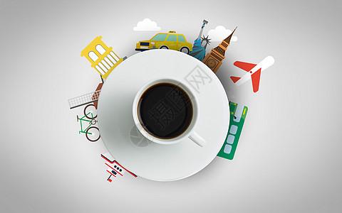 创意城市风光剪影咖啡图片
