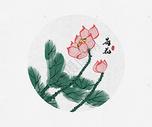 荷花中国风水墨画图片