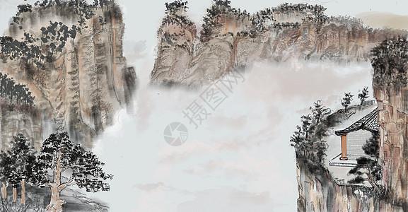 中国风水墨山插画图片