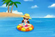 大暑海边度假图片
