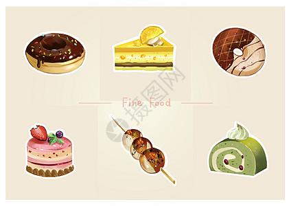 甜点蛋糕美食插画图片