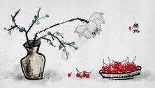 樱桃荷花中国风水墨画图片