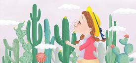 手绘仙人掌女孩图片