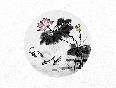 荷花和鱼中国风水墨画图片