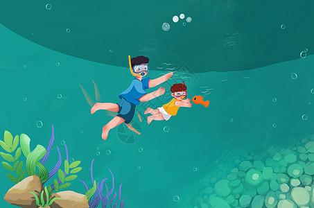 夏天和大鱼游泳图片