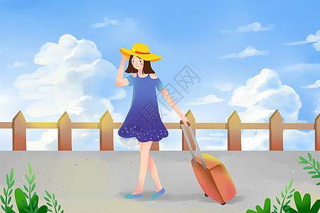 女孩夏日旅行图片