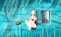 夏天吃西瓜插画图片