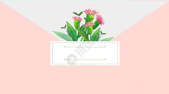 手绘信封花卉背景图片