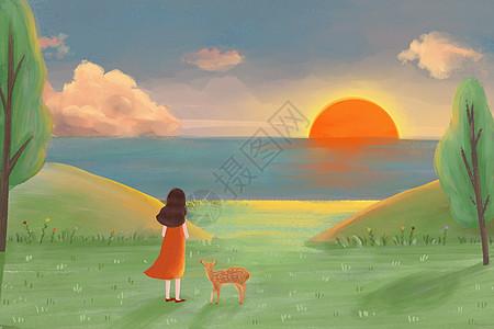 看日落的女孩图片