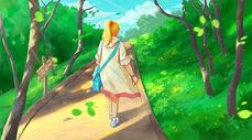 漫步在树林的女孩图片