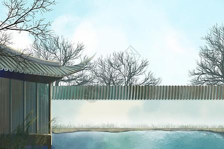 院内池塘图片