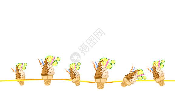 清新蛋筒水果冰淇淋插画图片