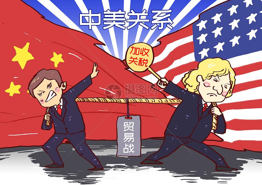 中美关税贸易战漫画图片