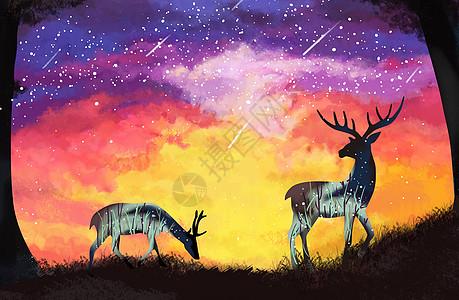 手绘欧式星空鹿高清图片
