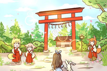 神社与狐巫女图片