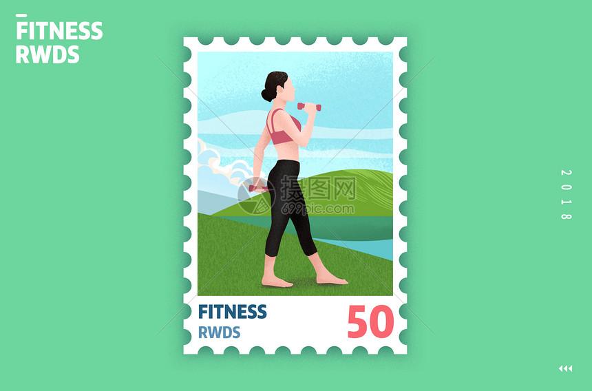 运动创意邮票插画图片