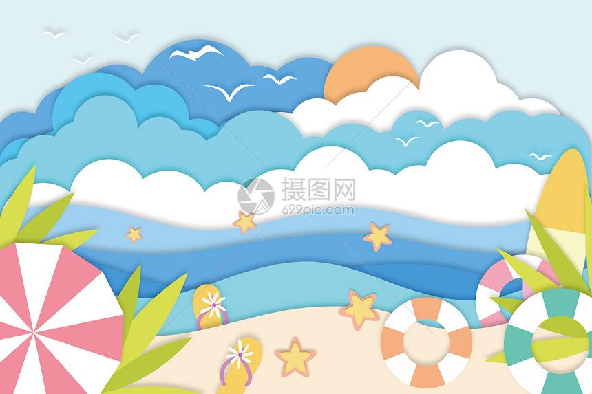 海滩剪纸风图片