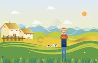 农田里劳动的农夫图片