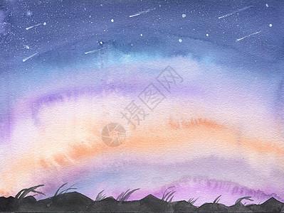 蓝紫色的夜空 星空图片