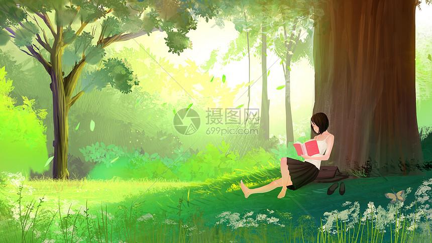 在树下的女孩图片