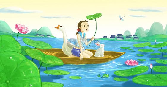 夏至荷塘图片