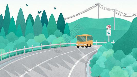 手绘绿色公路风景图片