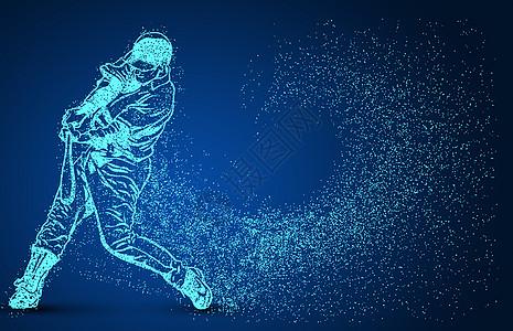 创意棒球运动员粒子剪影图片