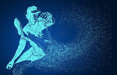 创意棒球动作剪影图片