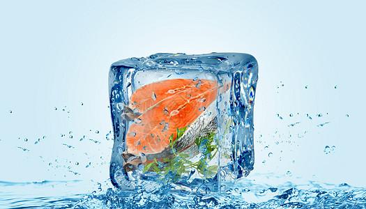创意清凉冰块里三文鱼图片