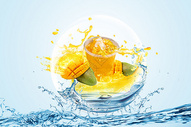 创意水里面的芒果图片