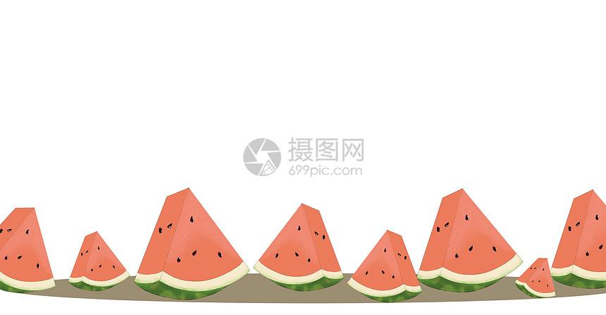 清新夏日水果西瓜场景插画图片