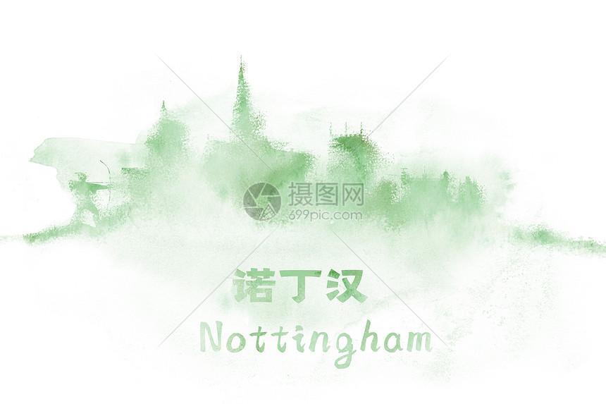 诺丁堡水彩插画城市图片