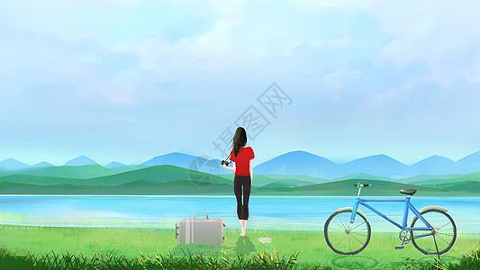 一个人看风景图片