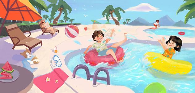 夏日假日旅行泳池玩耍图片