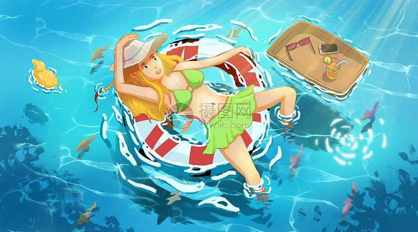 海边度假的女孩图片