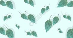 清新绿色树叶插画背景图片