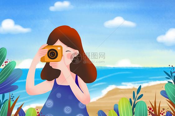 大暑海边度假拍照图片