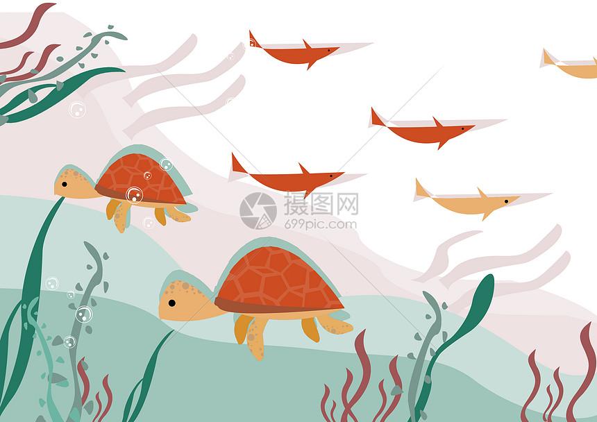乌龟和鱼图片